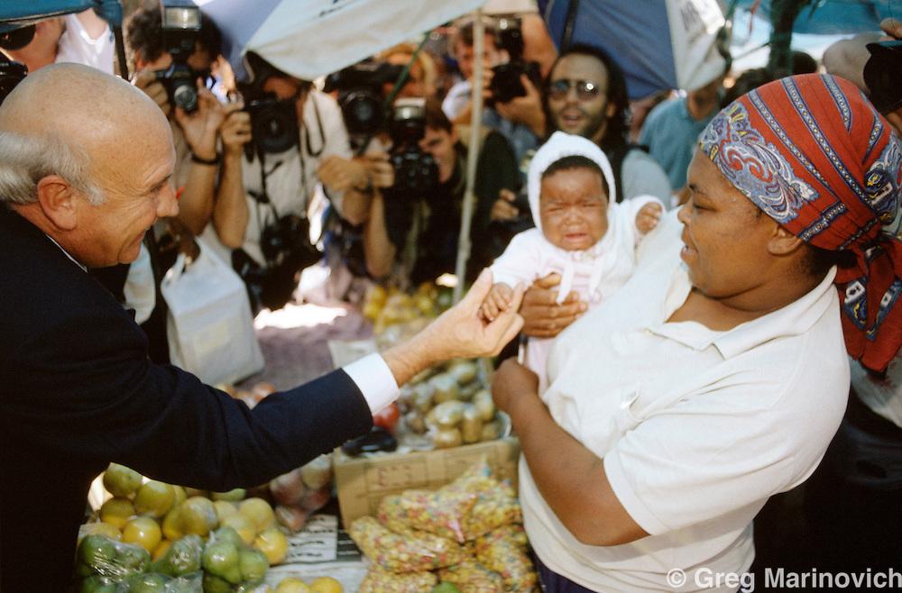 President FW de Klerk at a pre election rally 1994. South Africa