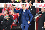 England women's manager Phil Neville in the technical area pointing during the FIFA Women's World Cup UEFA Qualifier match between England Ladies and Wales Women at the St Mary's Stadium, Southampton, England on 6 April 2018. Picture by Graham Hunt.