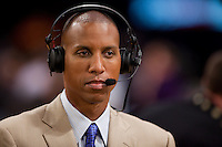 27 May 2010: TNT analyst Reggie Miller discusses the game before the Los Angeles Lakers 103-101 victory over the Phoenix Suns in Game 5 of the NBA Western Conference Finals at the STAPLES Center in Los Angeles, CA.