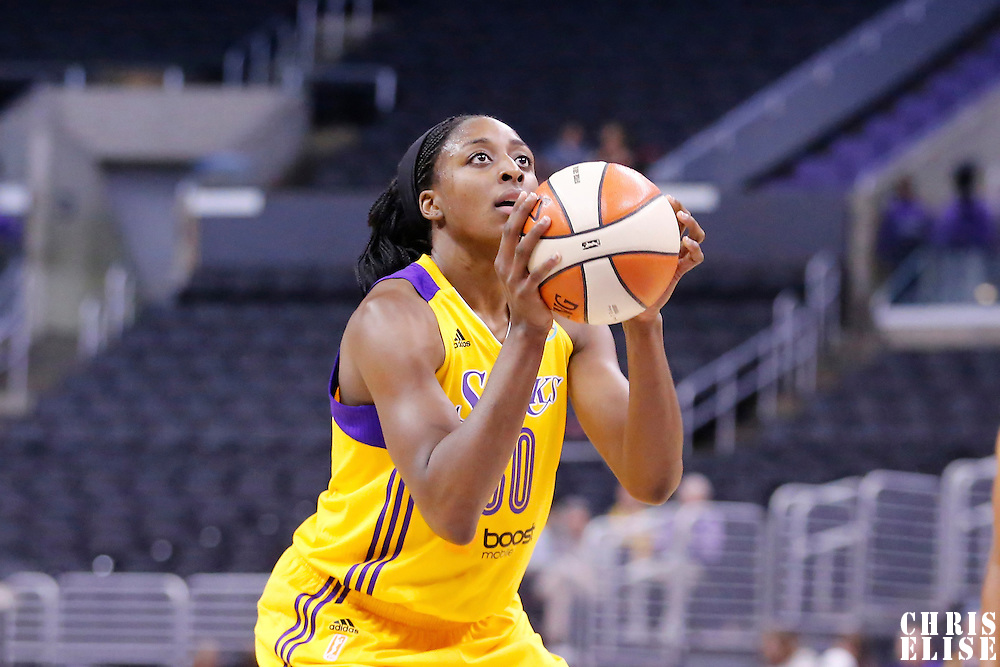 22 June 2014: forward Nneka Ogwumike (30) of the Los Angeles Sparks is seen at the free throw line during the San Antonio Stars 72-69 victory over the Los Angeles Sparks, at the Staples Center, Los Angeles, California, USA.