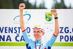Tadej Pogacar celebrating affter Slovenian Road Cycling Championship in time trial 2020 on June 28, 2020 in Zg. Gorje - Pokljuka, Slovenia. Photo by Peter Podobnik / Sportida.