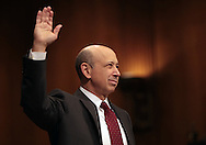 Lloyd  Blankfein, CEO Goldman Sachs, takes the oath  before the Senate Homeland Security and Government Affairs Subcommittee on April 27, 2010. Photograph by Dennis Brack