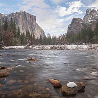 El Capitan and Bridal Veil Falls areas of Valley View. Yosemite National Park, California
