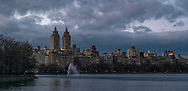The Upper Westside  skyline seen over the Reservoir in Central Park