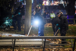 © Licensed to London News Pictures. 01/01/2019. London, UK. Members of a police search team look for evidence on the central reservation on Park Lane after a man, reported to be a bouncer, was found stabbed on New Year's Day. Detectives have launched a murder investigation following his death. Two other men - aged 37 and 29 - and a 29-year-old woman were also found with stab injuries. They were treated at the scene before being taken to hospital; their injuries are not life threatening. Photo credit: Ben Cawthra/LNP