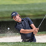 DUBLIN, OH - JUNE 02: PGA Golfer Aaron Baddeley hits  the ball out of the bunker during the Memorial Tournament - Second Round on June 2, 2017 at Muirfield Village Golf Club in Dublin, Ohio (Photo by Khris Hale/Icon Sportswire)