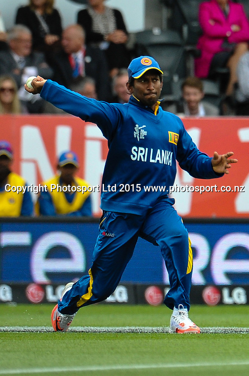 Jeevan Mendis of Sri Lanka fielding during the ICC Cricket World Cup match between New Zealand and Sri Lanka at Hagley Oval in Christchurch, New Zealand. Saturday 14 February 2015. Copyright Photo: John Davidson / www.Photosport.co.nz