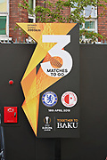 3 games to Baku sign before the Europa League quarter-final, leg 2 of 2 match between Chelsea and Slavia Prague at Stamford Bridge, London, England on 18 April 2019.