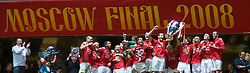 MOSCOW, RUSSIA - Wednesday, May 21, 2008: Manchester United's captain Rio Ferdinand and Ryan Giggs lift the European Cup as the team celebrates after beating Chelsea on sudden death penalties during the UEFA Champions League Final at the Luzhniki Stadium. (Photo by David Rawcliffe/Propaganda)