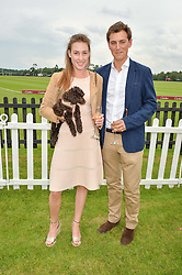 LADY TATIANA MOUNTBATTEN and ALEX ROSE with Conker the dog at the Cartier Queen's Cup Final 2016 held at Guards Polo Club, Smiths Lawn, Windsor Great Park, Egham, Surry on 11th June 2016.