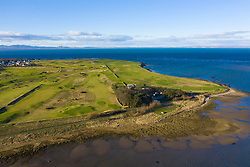 Aerial view of Kilspindie and Craigielaw Golf courses in Aberlady, East Lothian, Scotland, UK