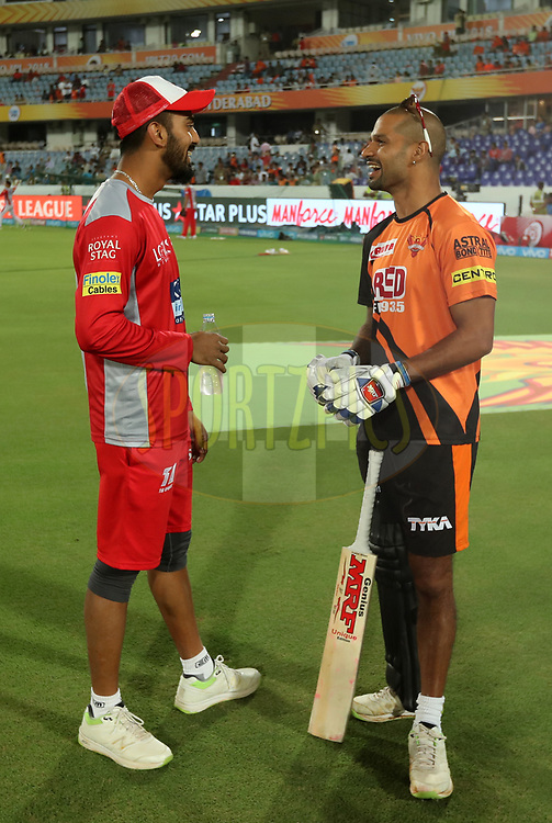 KL Rahul of Kings XI Punjab and Shikhar Dhawan of Sunrisers Hyderabad  during match twenty five of the Vivo Indian Premier League 2018 (IPL 2018) between the Sunrisers Hyderabad and the Kings XI Punjab  held at the Rajiv Gandhi International Cricket Stadium in Hyderabad on the 26th April 2018.<br /> <br /> Photo by: Prashant Bhoot /SPORTZPICS for BCCI