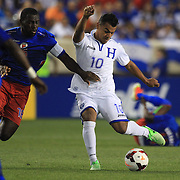 Mario Roberto Martinez, Honduras, in action during the Haiti V Honduras CONCACAF Gold Cup group B football match at Red Bull Arena, Harrison, New Jersey. USA. 8th July 2013. Photo Tim Clayton