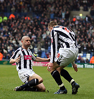 Photo: Mark Stephenson/Richard Lane Photography. <br /> West Bromwich Albion v Colchester United. Coca-Cola Championship. 29/03/2008. <br /> West Brom's Chris Brunt ( R) celebrates his goal with Kevin Phillips