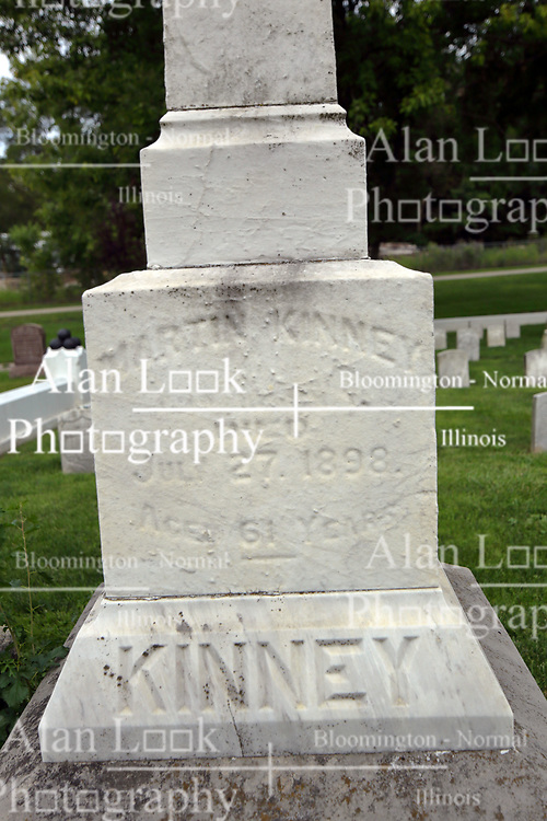 26 August 2017:   A part of the History of McLean County Illinois.<br /> <br /> Tombstones in Evergreen Memorial Cemetery.  Civic leaders, soldiers, and other prominent people are featured. Section 5, the old town soldiers area<br /> Martin Kinney Died July 27, 1898