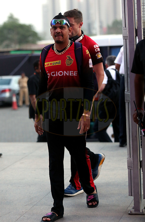 Sunil Narine of the Kolkata Knight Riders arrives for the match 30 of the Vivo 2017 Indian Premier League between the Rising Pune Supergiants and the Kolkata Knight Riders  held at the MCA Pune International Cricket Stadium in Pune, India on the 26th April 2017<br /> <br /> Photo by Sandeep Shetty - Sportzpics - IPL