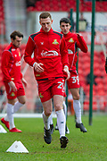 Doncaster Rovers Defender Reece Fielding (29) warms up for the EFL Sky Bet League 1 match between Doncaster Rovers and Bristol Rovers at the Keepmoat Stadium, Doncaster, England on 27 January 2018. Photo by Craig Zadoroznyj.