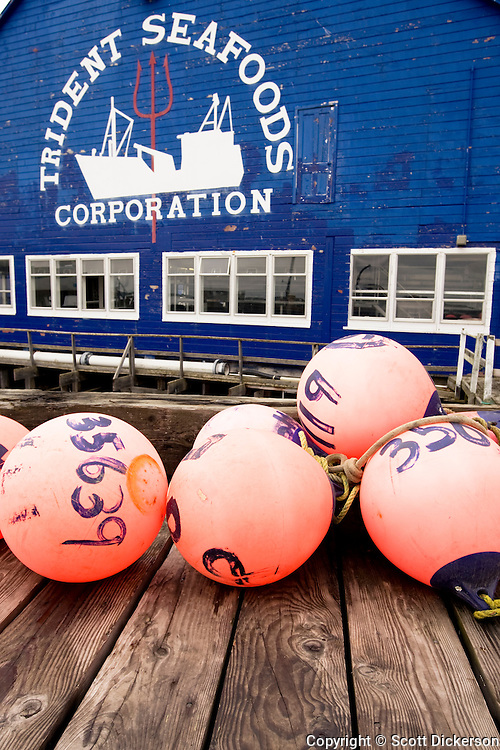Bouys on the dock of Trident Seafoods sockeye salmon cannery in South Naknek, Bristol Bay, Alaska. This cannery no longer operates as a cannery, but instead helps support the commercial fishing boat fleet.