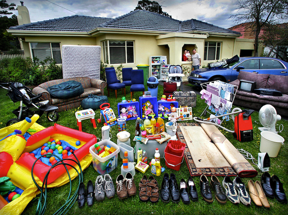 One family's house-hold full of crude oil based products, from their shoes to the acrylic paint on their house. All these products may be affected by the increasing price of crude oil. Joanne &amp; Bill Vlahos and their 15 month old daughter Grace  Pic By Craig Sillitoe melbourne photographers, commercial photographers, industrial photographers, corporate photographer, architectural photographers, This photograph can be used for non commercial uses with attribution. Credit: Craig Sillitoe Photography / http://www.csillitoe.com<br />