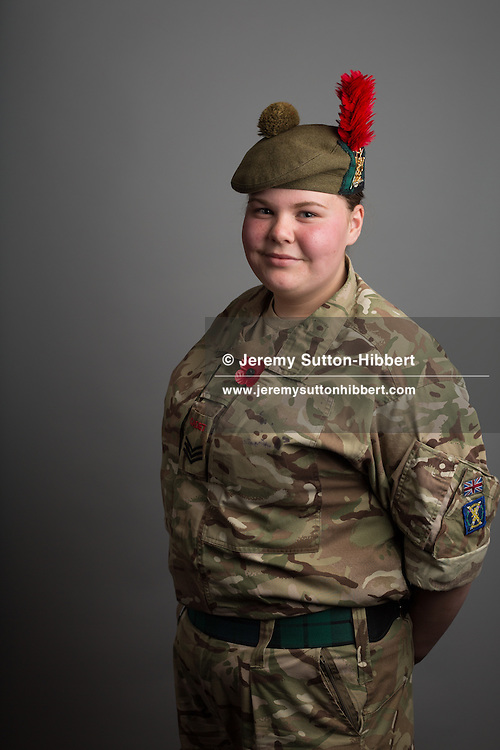 Sergeant Louise Matthew of the Arbroath Blackwatch detachment army cadet force, in Scotland, on 11 August 2016.
