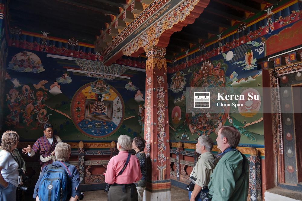 Western traveler inside Trongsa Dzong, Bhutan