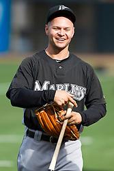July 26, 2010; San Francisco, CA, USA;  Florida Marlins center fielder Cody Ross (12) before the game San Francisco Giants at AT&T Park.