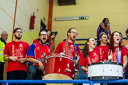 KK Tajfun Sentjur team fans during supercup basketball match between KK Krka Novo mesto and KK Tajfun Sentjur at Superpokal 2015, on September 26, 2015 in SKofja Loka, Poden Sports hall, Slovenia. Photo by Grega Valancic / Sportida.com