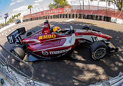 March 9, 2019 - St. Petersburg, FL, U.S. - ST. PETERSBURG, FL - MARCH 09:  driver Rinus VeeKay (21) during the Indy Lights Race of St. Petersburg on March 9 in St. Petersburg, FL. (Photo by Andrew Bershaw/Icon Sportswire) (Credit Image: © Andrew Bershaw/Icon SMI via ZUMA Press)