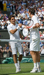 LONDON, ENGLAND - Wednesday, June 30, 2010: Tomas Berdych (CZE) celebrates after beating Roger Federer (SUI) the Gentlemen's Singles Quarter-Final on day nine of the Wimbledon Lawn Tennis Championships at the All England Lawn Tennis and Croquet Club. (Pic by David Rawcliffe/Propaganda)