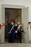 03.01.12. Copenhagen, Denmark.Crowprincess Mary's and Crownprince Frederik's arrival to Christiansborg Palace, for the New Year's Court for the Diplomatic Corps.Photo:© Ricardo Ramirez