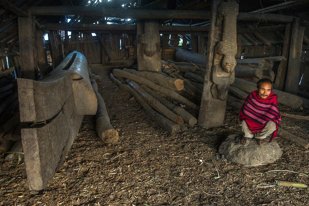 Konyak Naga Hongphoi Village Log drum<br /> Konyak Naga headhunting Tribe<br /> Mon district<br /> Nagaland,  ne India
