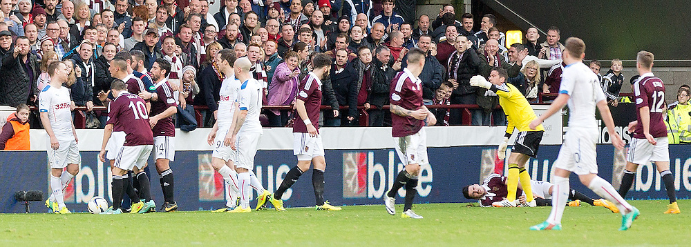 Hearts v Rangers Scottish Championship 22 November 2014; Ranger's Steven Smith is shown a straight red for a bad challenge on Heart's attacking right back Callum Paterson during the Heart of Midlothian v Rangers Scottish Championship match played at Tynecastle Stadium, Edinburgh;