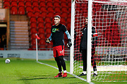 Marko Marosi of Doncaster Rovers warming up in a Kick It Out Tshirt before the EFL Sky Bet League 1 match between Doncaster Rovers and Bristol Rovers at the Keepmoat Stadium, Doncaster, England on 26 March 2019.