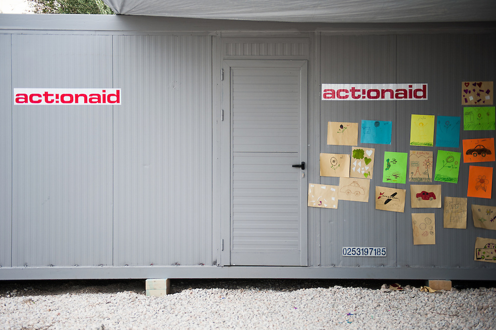 The ActionAid office container in Kara Tepe camp, Lesvos, Greece