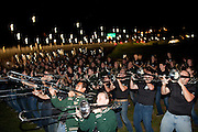 The Yell Like Hell bonfire was hosted at the Pepsi Tailgreat Park at Ohio University in Athens, Ohio on Friday, October 11, 2013. Photo by Chris Franz