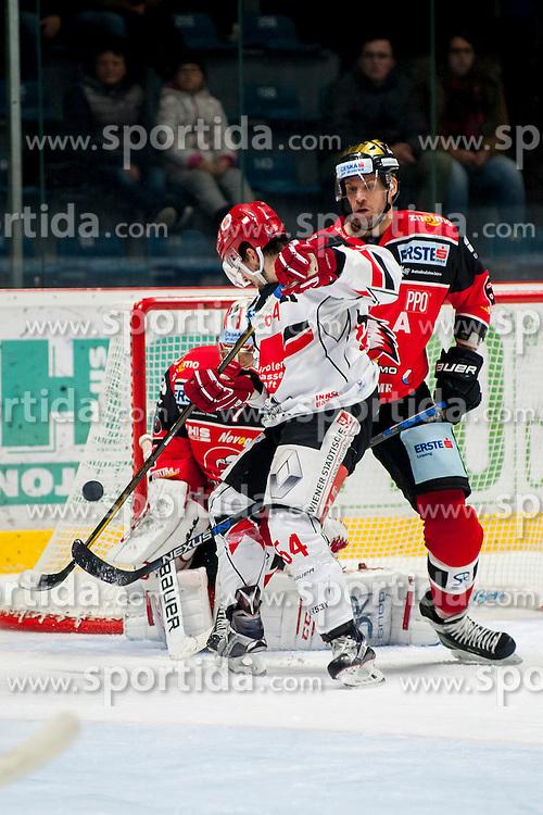 23.10.2016, Ice Rink, Znojmo, CZE, EBEL, HC Orli Znojmo vs HC TWK Innsbruck Die Haie, 13. Runde, im Bild v.l. Patrik Nechvatal (HC Orli Znojmo) Ondrej Sedivy (HC TWK Innsbruck) Andre Lakos (HC Orli Znojmo) // during the Erste Bank Icehockey League 13th round match between HC Orli Znojmo and HC TWK Innsbruck Die Haie at the Ice Rink in Znojmo, Czech Republic on 2016/10/23. EXPA Pictures © 2016, PhotoCredit: EXPA/ Rostislav Pfeffer