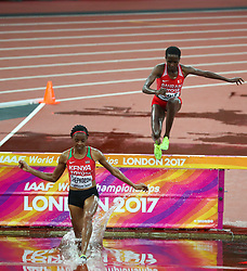 London, August 09 2017 . Beatrice Chepkoech, Kenya, and Ruth Jebet, Bahrain, in the women's 3,000m steeplechase heats on day six of the IAAF London 2017 world Championships at the London Stadium. © Paul Davey.