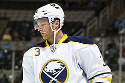 January 6, 2011; San Jose, CA, USA; Buffalo Sabres defenseman Jordan Leopold (3) warms up before the game against the San Jose Sharks at HP Pavilion. Buffalo defeated San Jose 3-0. Mandatory Credit: Jason O. Watson / US PRESSWIRE