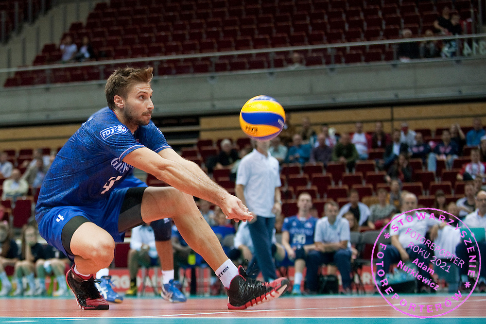 Antonin Rouzier from France receives the ball during the 2013 CEV VELUX Volleyball European Championship match between France and Slovakia at Ergo Arena in Gdansk on September 20, 2013.<br /> <br /> Poland, Gdansk, September 20, 2013<br /> <br /> Picture also available in RAW (NEF) or TIFF format on special request.<br /> <br /> For editorial use only. Any commercial or promotional use requires permission.<br /> <br /> Mandatory credit:<br /> Photo by © Adam Nurkiewicz / Mediasport
