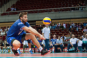 Antonin Rouzier from France receives the ball during the 2013 CEV VELUX Volleyball European Championship match between France and Slovakia at Ergo Arena in Gdansk on September 20, 2013.<br /> <br /> Poland, Gdansk, September 20, 2013<br /> <br /> Picture also available in RAW (NEF) or TIFF format on special request.<br /> <br /> For editorial use only. Any commercial or promotional use requires permission.<br /> <br /> Mandatory credit:<br /> Photo by &copy; Adam Nurkiewicz / Mediasport