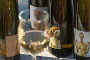 Stillleben, Flaschen, Weißwein, Weingut Klaus Zimmerling, Pillnitz, Sächsische Schweiz, Elbsandsteingebirge, Sachsen, Deutschland | still life with bottles of white wine, winery Klaus Zimmerling, Pillnitz, Saxon Switzerland, Saxony, Germany
