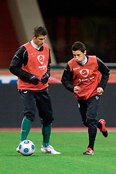 Bostjan Cesar and Robert Koren at practice of Slovenian team a day before FIFA World Cup 2010 Qualifying match between Russia and Slovenia, on November 13, 2009, in Stadium Luzhniki, Moscow, Russia.  (Photo by Vid Ponikvar / Sportida)