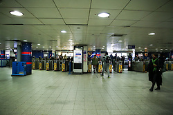 © Licensed to London News Pictures. 16/03/2020. London, UK. Empty ticket hall at Oxford Circus as commuters and shoppers are avoiding travelling on the London Underground amid an increased number of Coronavirus (COVID-19) cases in the UK. 35 coronavirus victims have died and 1,372 have tested positive forthe virusin the UK as of9amon Sunday, 15 March 2020. Photo credit: Dinendra Haria/LNP