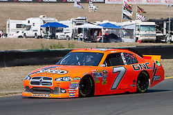 June 25, 2011; Sonoma, CA, USA;  NASCAR Sprint Cup Series driver Robby Gordon (7) drives through turn 8 during practice for the Toyota/Save Mart 350 at Infineon Raceway.