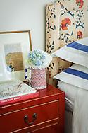 Stamford home, bedroom vignette. Interior design by Jeffrey Kilmer Design.