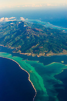 Aerial view, island of Raiatea, French Polynesia.