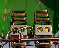 Detail of Propane Burners used to inflate hot air balloons. Burners directing flames into the envelope at the 25th Annual Sunrise Community Hot Air Balloon Event. Sunrise Coomunity is a non profit service provider of programs that supports people with living mental and physical challenges.