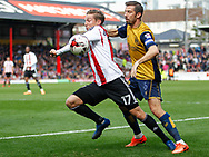 Konstantin Kerschbaumer of Brentford and Gary O'Neil of Bristol City during the Sky Bet Championship match between Brentford and Bristol City at Griffin Park, London<br /> Picture by Mark D Fuller/Focus Images Ltd +44 7774 216216<br /> 01/04/2017