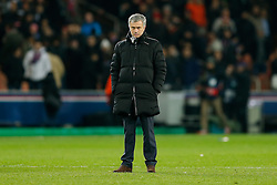 Chelsea Manager Jose Mourinho looks on after the match ends in a 1-1 draw - Photo mandatory by-line: Rogan Thomson/JMP - 07966 386802 - 17/02/2015 - SPORT - FOOTBALL - Paris, France - Parc des Princes - Paris Saint-Germain v Chelsea - UEFA Champions League, Last 16, First Leg.