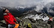 Reaching the summit at Heli-hiking at Canadian Mountain Holidays, British Columbia, Canada